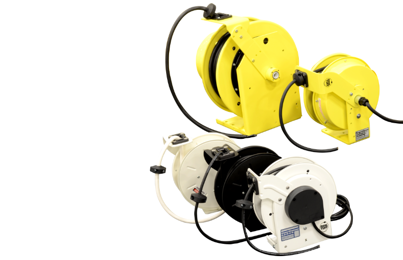 White, Black and Yellow Heavy Duty Cord Reels