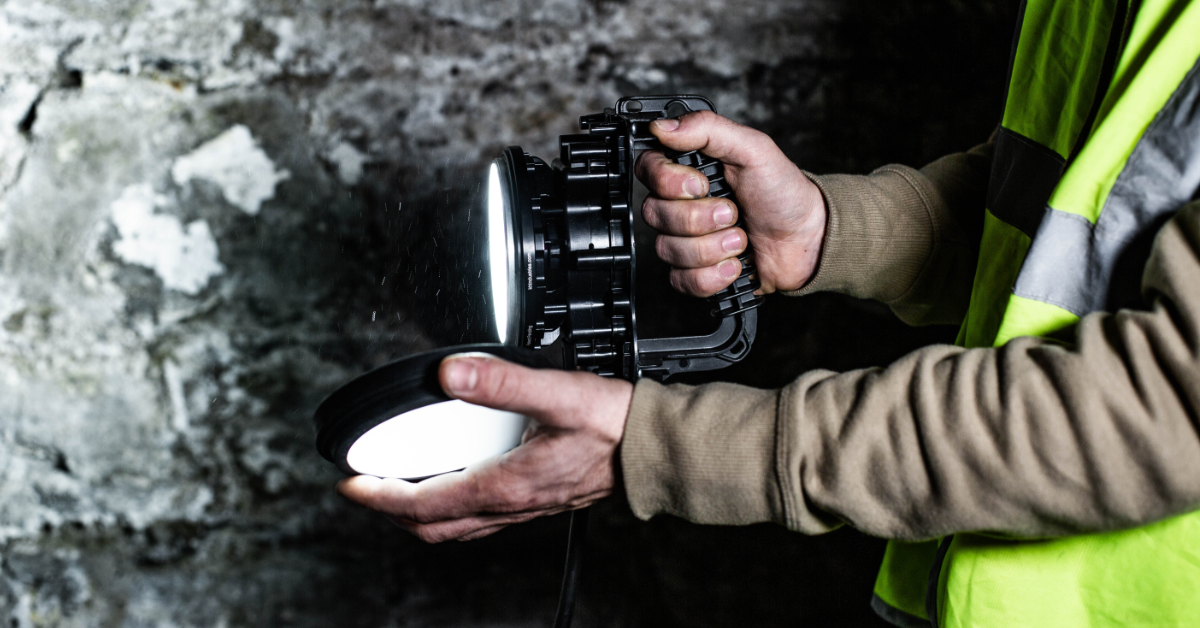 Example of HazRay™ Handheld Single-Head LED Portable Explosion Proof Light in Use. Suitable for CID1 and CID2 Hazardous Locations.